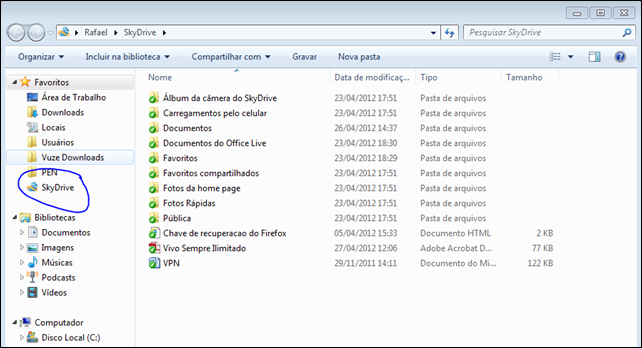 SkyDrive no Windows Explorer